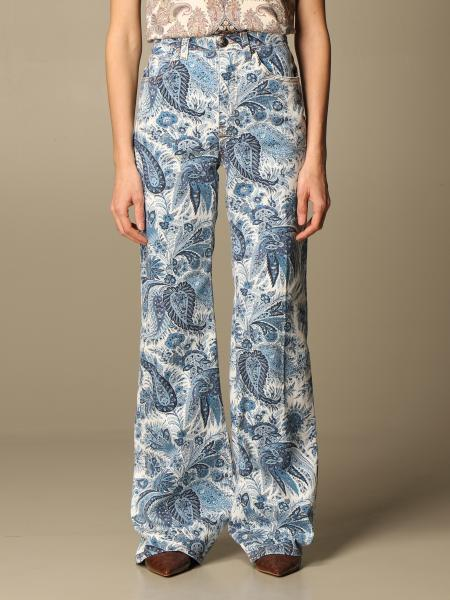 Violetta Etro wide jeans with paisley pattern