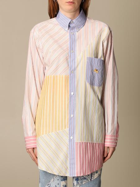 Etro women: Patchwork striped Etro cotton shirt