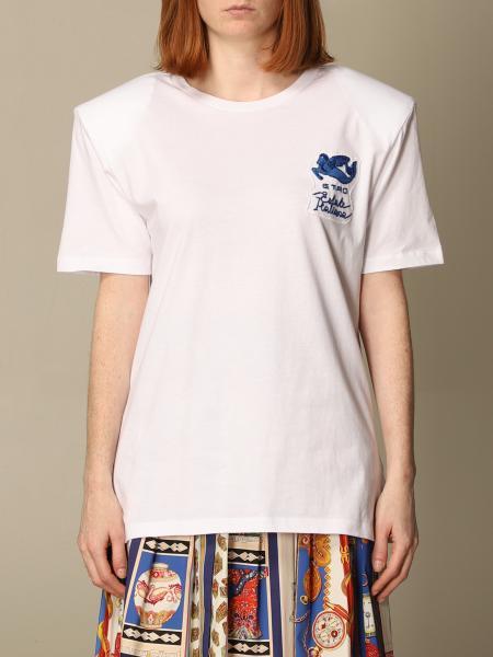 Etro women: Etro basic cotton T-shirt with Pegaso logo