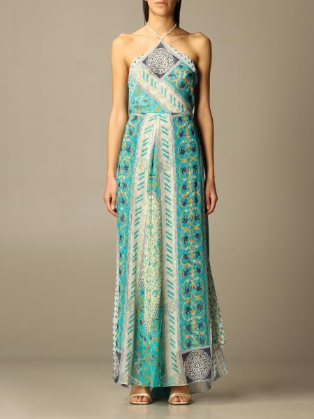 Etro women: Long Etro dress in patterned silk