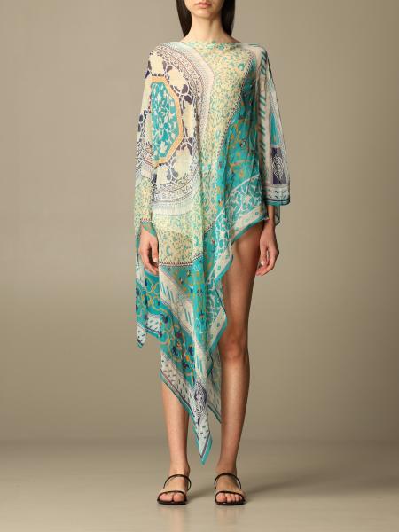 Etro women: Etro poncho in folulard patchwork silk