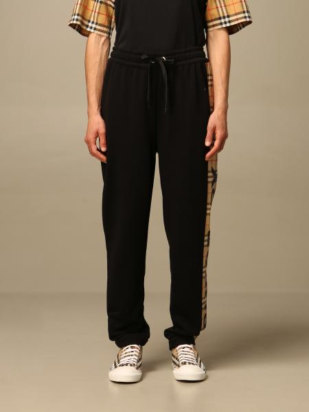 Burberry jogging trousers with logo and check bands