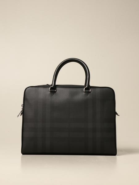 Burberry business bag in leather with London check motif