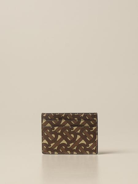 Burberry credit card holder in e-canvas with monogram print
