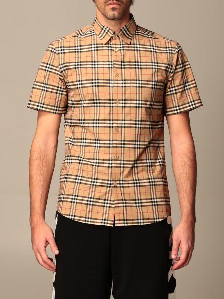 Burberry uomo: Camicia Simpson Burberry in popeline di cotone con motivo check