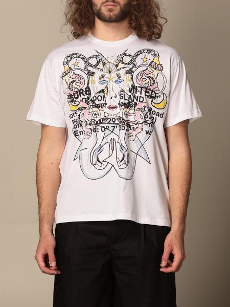 T-shirt Montage Burberry in cotone logo stampa