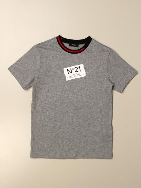 N° 21: T-shirt N°21 in cotone stretch con logo