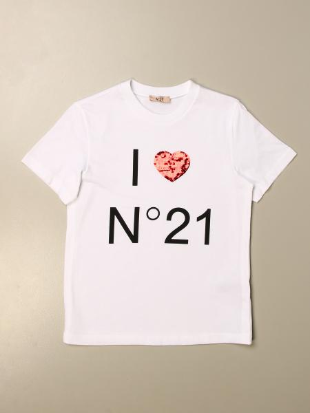 N° 21: T-shirt N°21 in cotone con stampa I LOVE