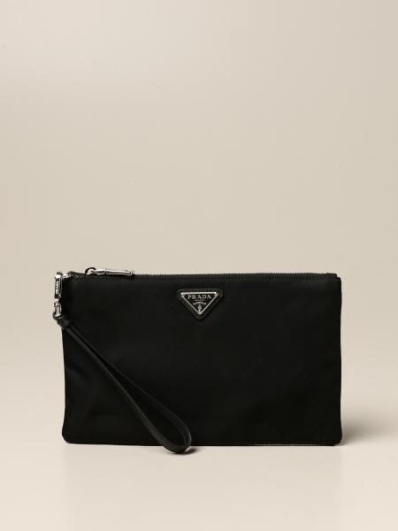 Prada nylon clutch with triangular logo