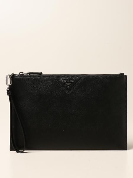 Prada wrist clutch in saffiano leather with logo