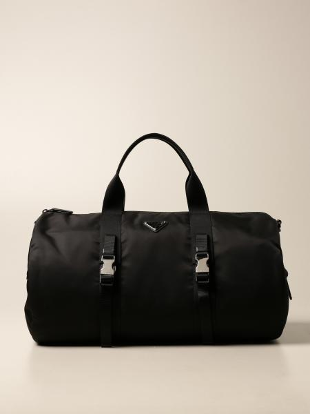 Prada duffle bag in technical nylon with triangular logo