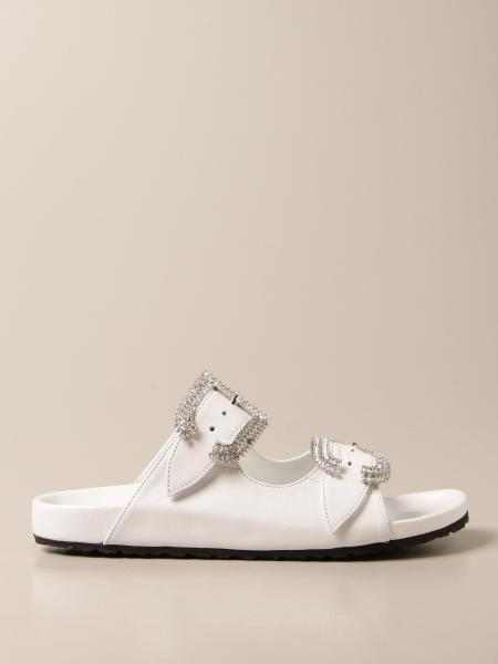 Anna F.: Anna F. leather sandals with rhinestone buckle