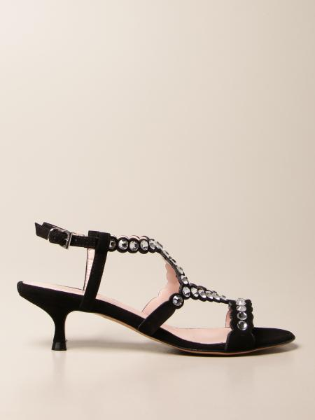 Anna F.: Anna F. jewel sandals in suede with rhinestones