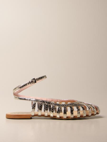 Anna F.: Anna F. flat sandals in laminated leather