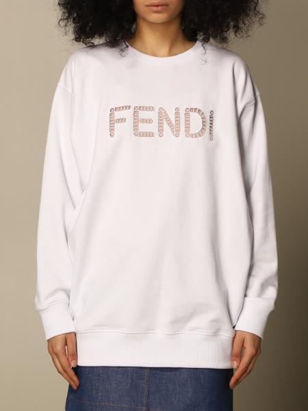 Fendi women: Fendi crewneck sweatshirt in cotton jersey with perforated log
