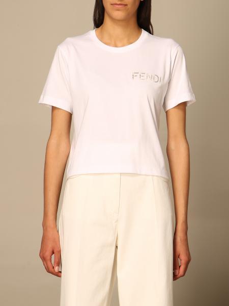 Fendi women: Fendi cotton T-shirt with perforated logo