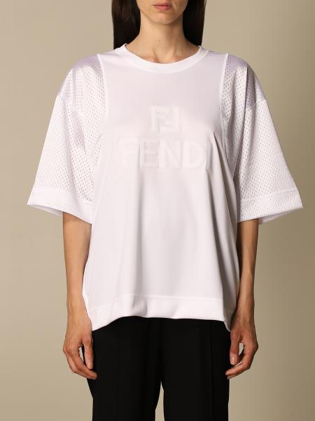Fendi women: Fendi T-shirt with perforated sleeves