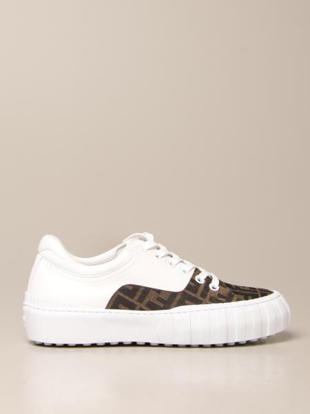 Fendi trainers in leather and FF fabric