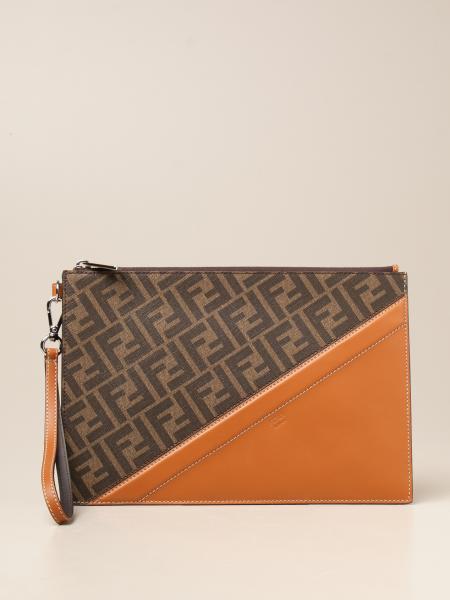 Fendi leather clutch bag with FF logo