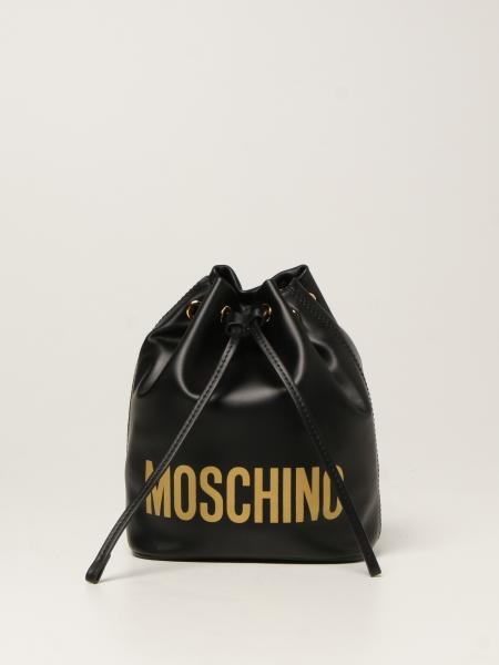 Moschino women: Moschino Couture bucket bag in leather with logo