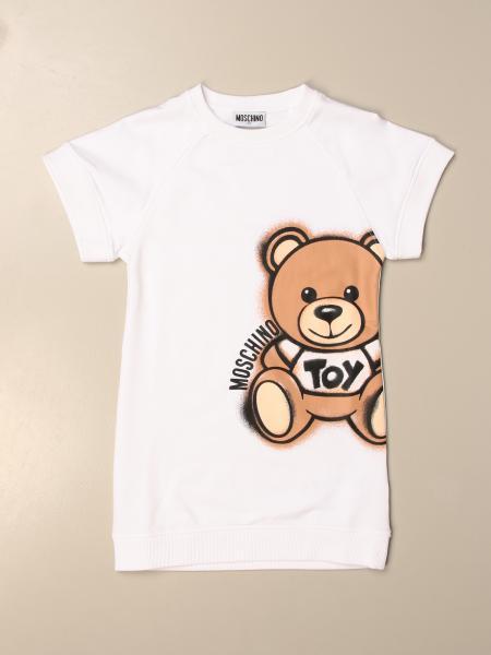 Moschino Kid cotton sweatshirt dress with big teddy
