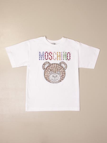 T-shirt Moschino Kid con big teddy di strass