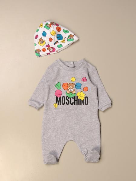 Set tutina con piede + cappellino Moschino Baby in cotone con logo Teddy