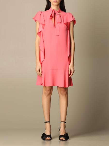 Red Valentino: Red Valentino short dress in satin with ruffles