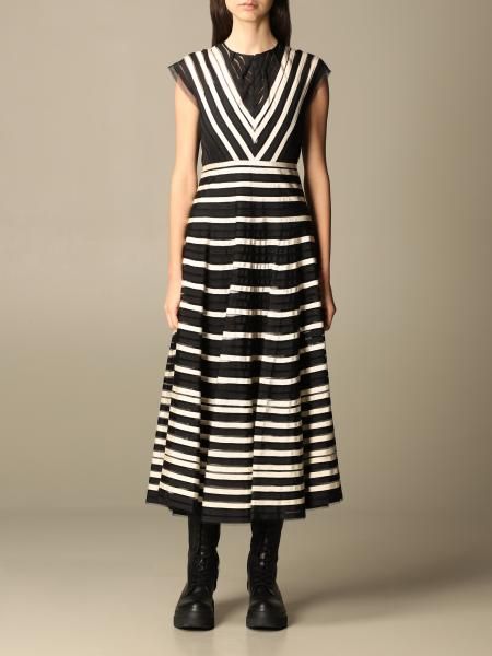 Red Valentino: Red Valentino midi dress with grosgrain ribbons on tulle