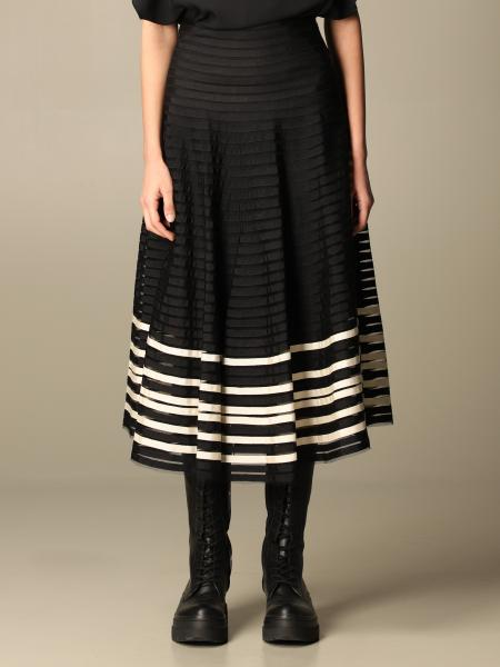Red Valentino: Red Valentino midi skirt with grosgrain ribbons on tulle