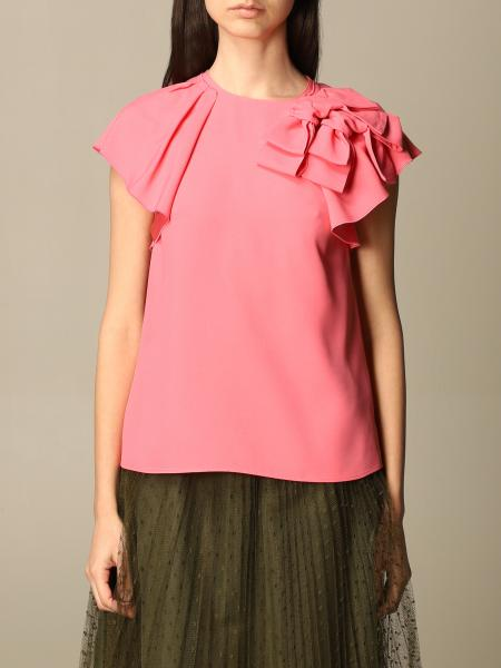 Red Valentino donna: Top Red Valentino in satin con rouches