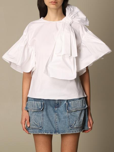 Red Valentino: Red Valentino top in cotton poplin with ruffles