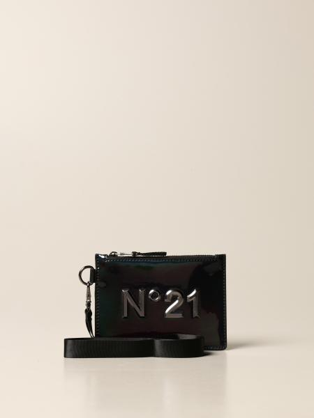 N ° 21 wrist clutch in patent leather with metallic logo