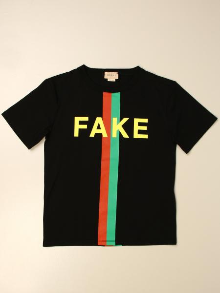 Gucci kids: Gucci cotton T-shirt with Not Fake print
