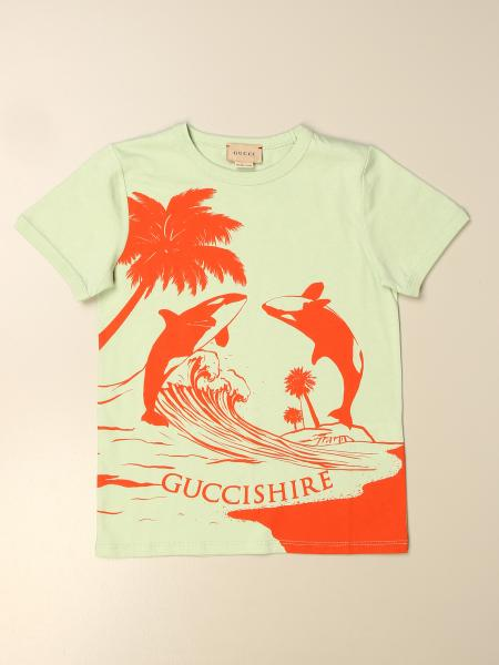 Gucci kids: Gucci T-shirt with Guccishire print