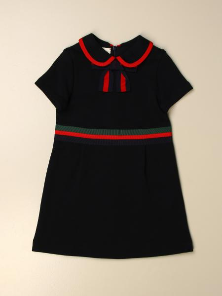 Gucci kids: Gucci short dress in cotton jersey with Web bow