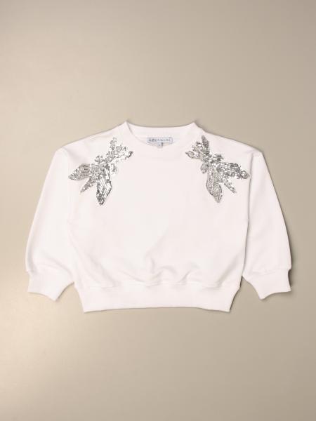 Patrizia Pepe crewneck sweatshirt in cotton with rhinestone logo