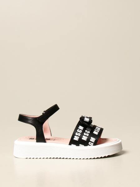 Msgm Kids sandal in leather and fabric with logo