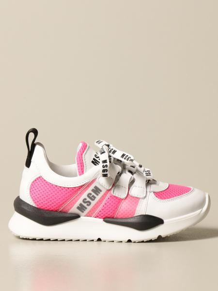 Sneakers Msgm Kids in pelle e micro rete
