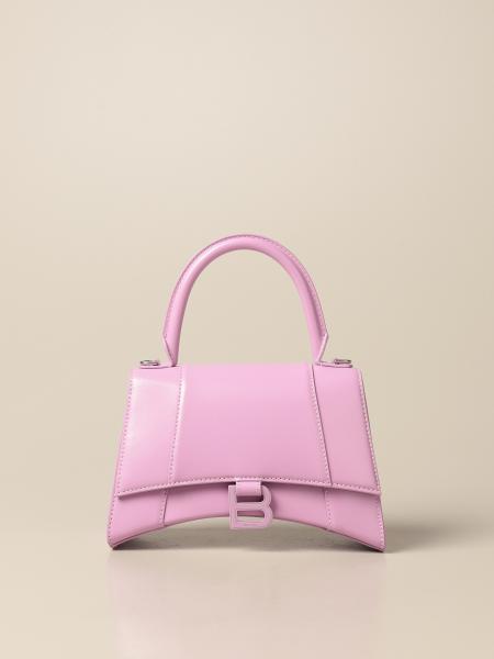 Balenciaga: Borsa Hourglass top handle S Balenciaga in pelle liscia