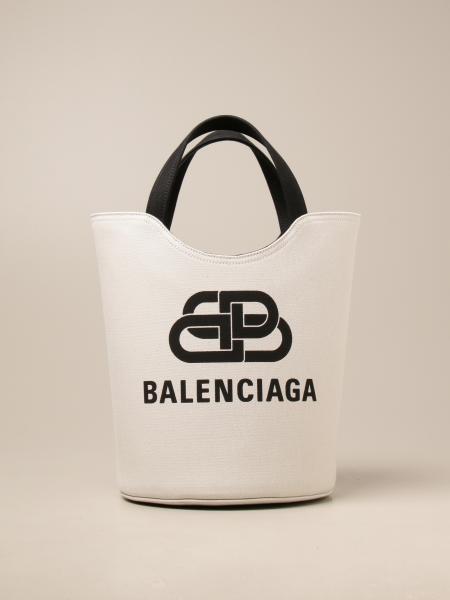 Balenciaga: Borsa Wave tote M Balenciaga in canvas con logo