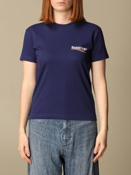 Balenciaga: T-shirt Balenciaga in cotone con logo Political Campaign