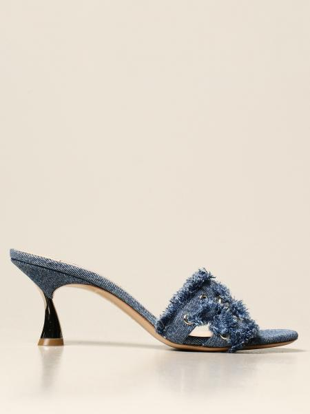 Casadei: Casadei sandal in denim with chain