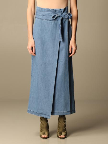 Gonna di jeans Federica Tosi con cinta a fascia
