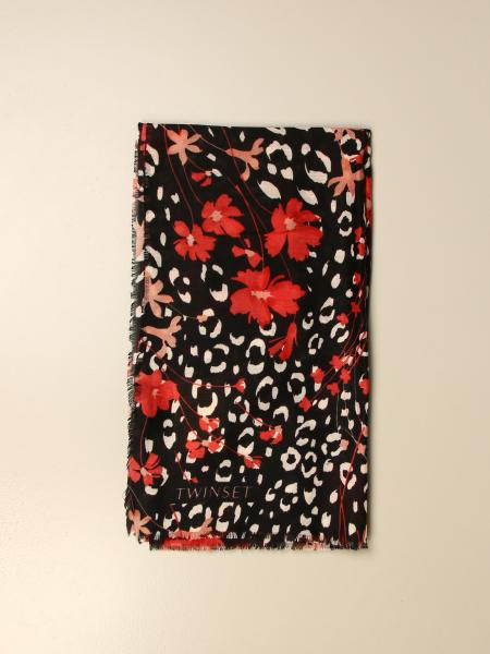 Twin-set scarf with floral pattern