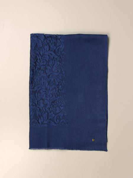 Twin-set scarf with lace inserts