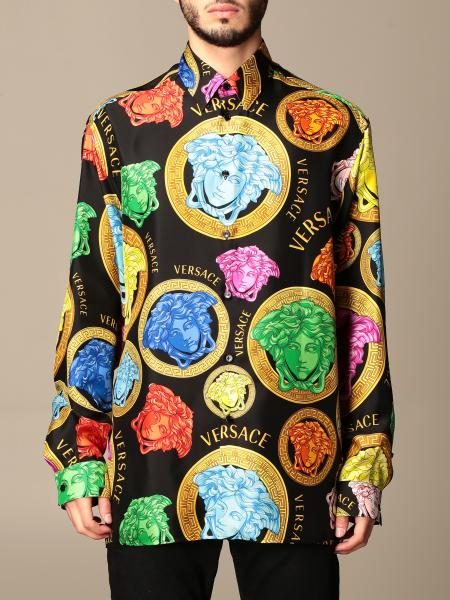 Versace uomo: Camicia Versace in seta con testa di medusa all over multicolor