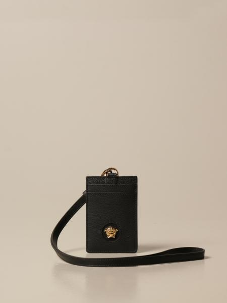 Versace: Versace neck credit card holder in grained leather