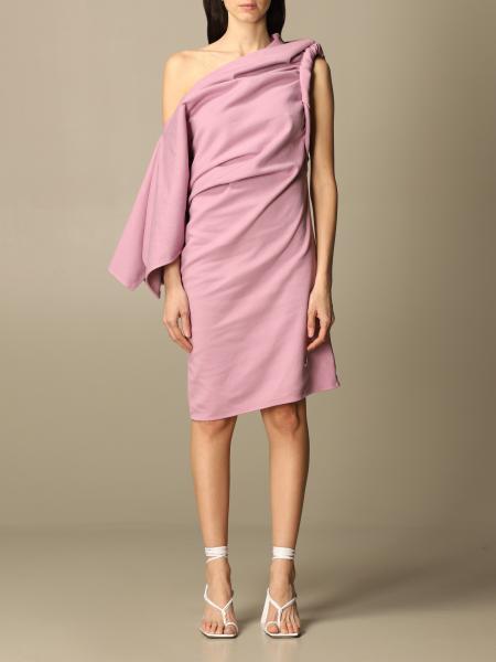 The Attico: The Attico one-shoulder dress in draped fabric