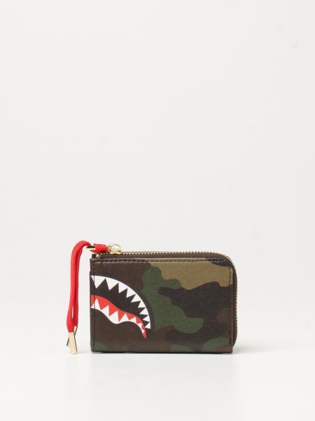 Portafoglio Checks & Camo Sprayground in pelle vegana con squalo
